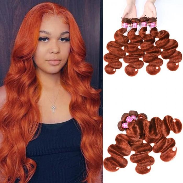 Incolorwig 100% Brazilian Human Hair Pre-colored #350 Ginger Body Wave 4 Bundles Weave