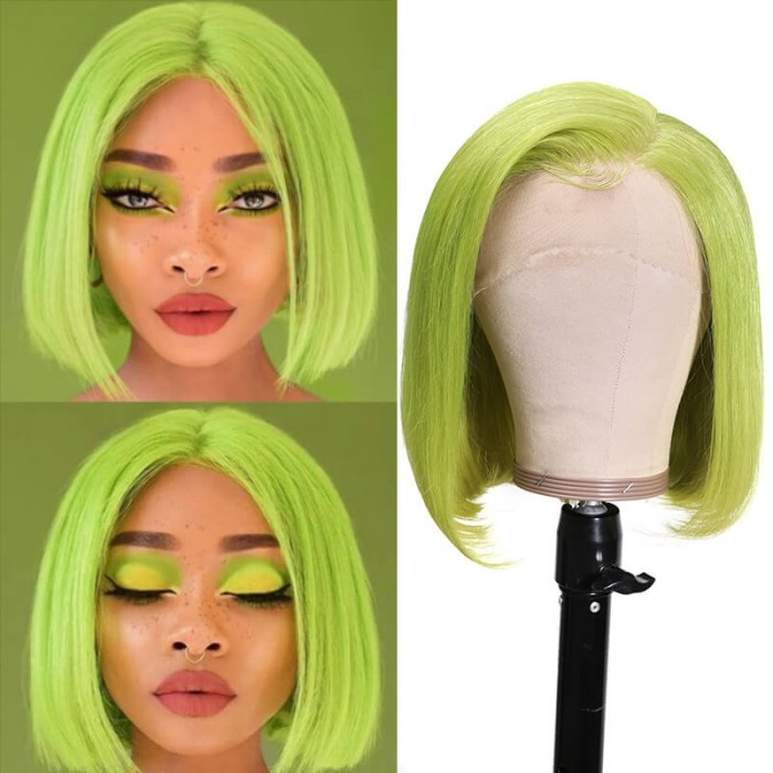 Incolorwig Green Wig Short Bob 13x4 Lace Front Wigs Remy Human Hair 150% Density Hot Wigs