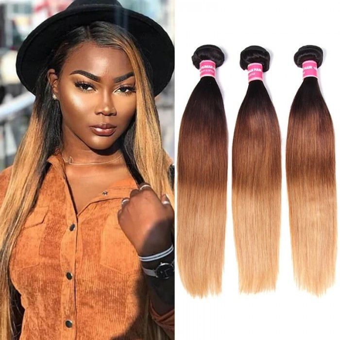Incolorwig Novel Brazilian Virgin Straight Hair Weave  #T1B427 Ombre Human Hair Weave 3 Bundles