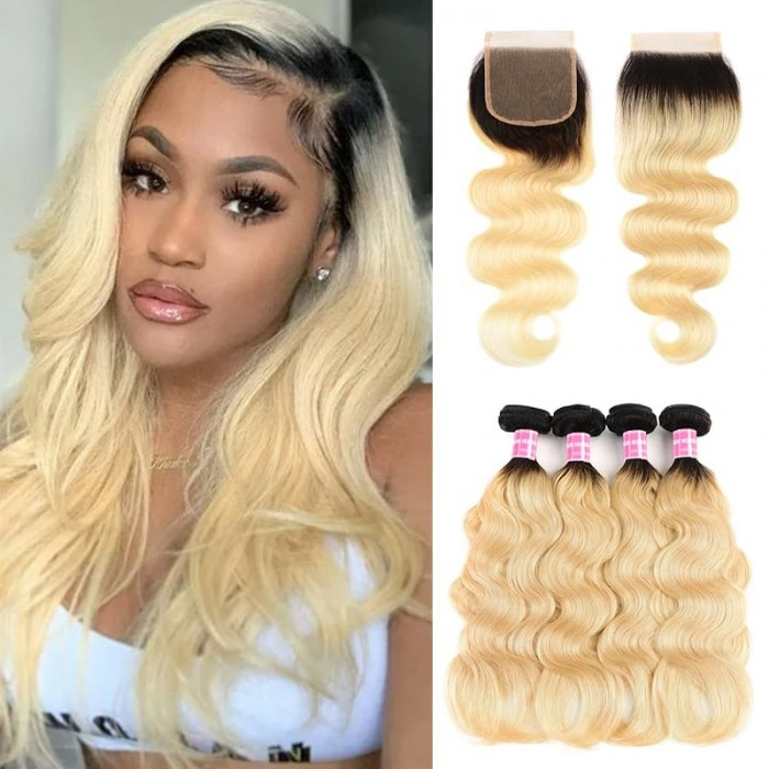 Incolorwig New Arrival #T1B613 Ombre Color Body Wave Brazilian 4 Bundles Hair With 4*4 Free Part Lace Closure