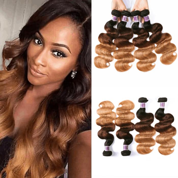 Incolorwig 100% Peruvian Human Hair 4 Bundles Deals #T1B427 Ombre Color Body Wave Human Hair Weave