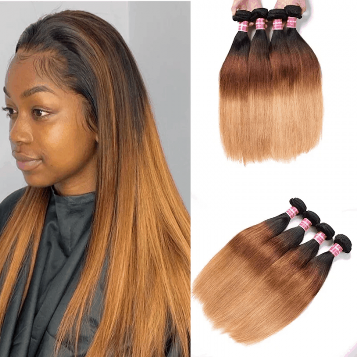 Incolorwig Quality Peruvian Human Hair #T1B427 Ombre Color Straight Human Hair Weave 4 Bundles Deals