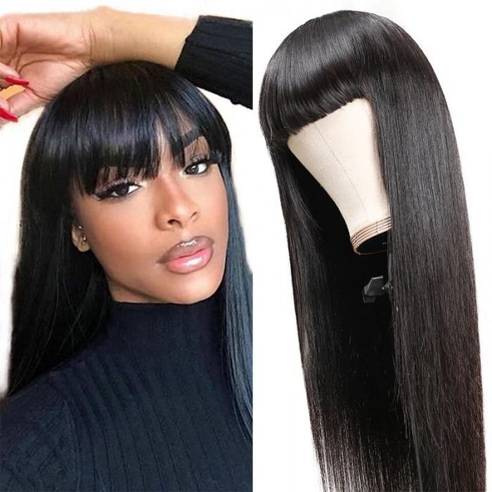 Incolorwig 150% Density Straight Hair Glueless Wigs With Bangs Machine Made Virgin Human Hair Wig