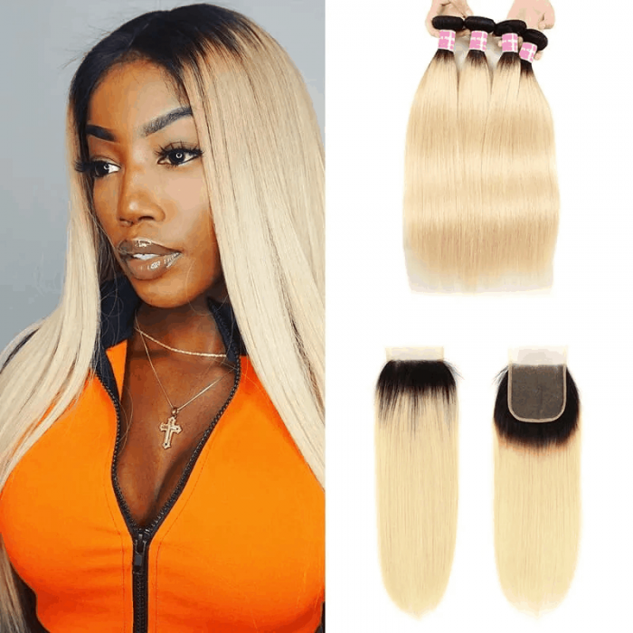 Incolorwig Malaysian 4 Bundles Hair With 4*4 Free Part Lace Closure Staight Hair #T1B613 Ombre Color