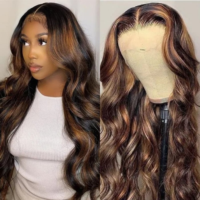 Incolorwig Brown Color Body Wave 13*4 Lace Front Wigs 150% Density FB30 Highlight Wigs