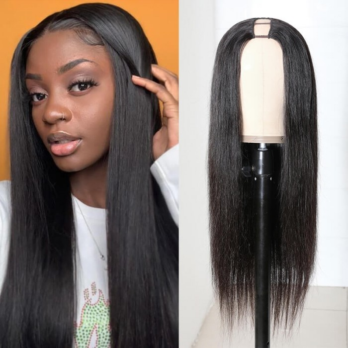 Incolorwig Brazilian Straight Human Hair Wigs 2*4 Opening Size U Part Wigs 150% Density Middle Part Wigs
