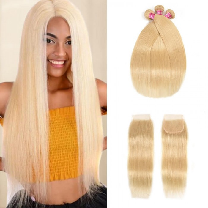 Incolorwig New Malaysian Human Hair #613 Blonde Straight Hair Combination 3 Bundles With 4*4 Lace Closure