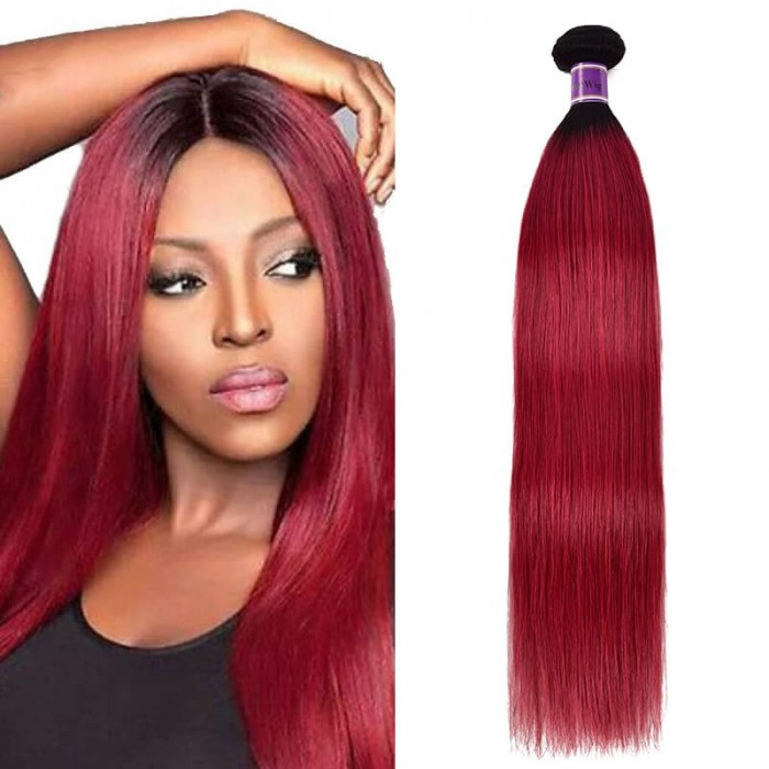 Incolorwig Brazilian Human Straight Hair Weave #TB Burgundy Remy Hair 1 Bundle Deals