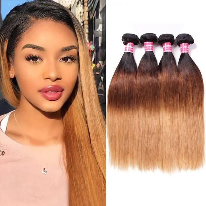 Incolorwig Virgin Brazilian Hair #T1B427 Ombre Color Straight Human Hair Weaving 4 Bundles Deals