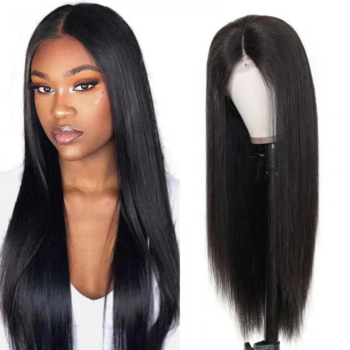 Incolorwig Fake Scalp Lace Wig 100% Human Hair 13*4 Lace Front Straight Human Hair Wigs