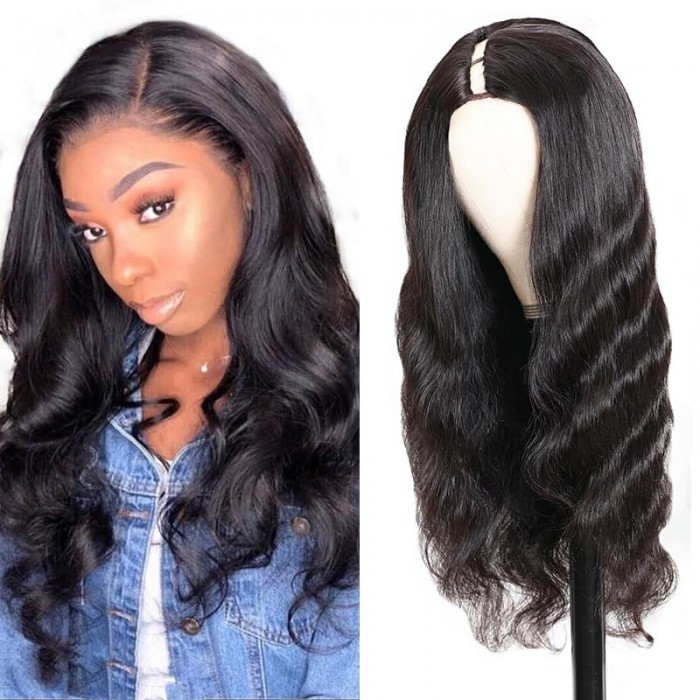 Incolorwig U Part Wig Body Wave Upgrade U Part Human Hair Wigs 150% Density Natural Looking Hairline