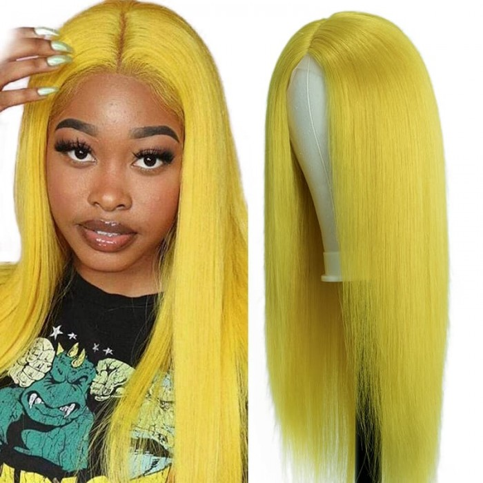 Incolorwig Pure Color Yellow Wigs 150% Density Straight Hair Wigs Hairline Middle Lace Part Wig
