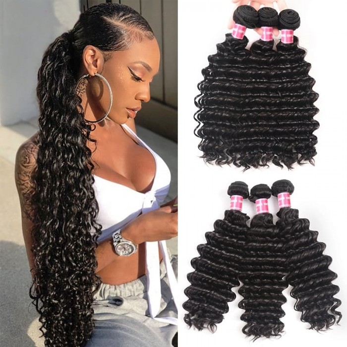 Incolorwig Brazilian Deep Wave Hair Bundles 3 Lots Deep Curly Human Hair Weaves