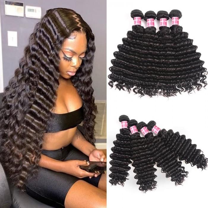 Incolorwig Deep Wave Weave 100% Virgin Human Hair Weave 4 Bundle Deals