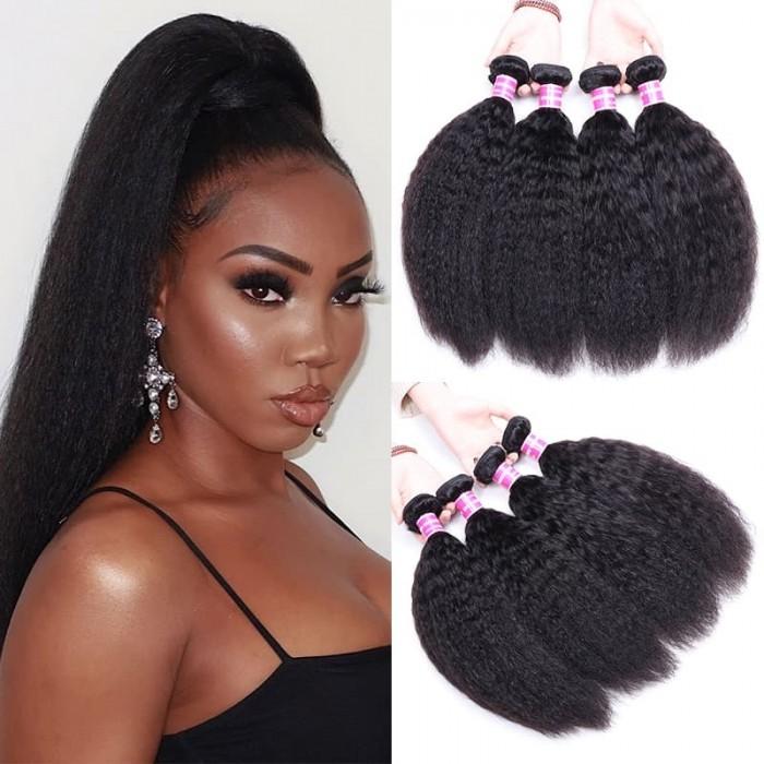 Incolorwig Brazilian Kinky Straight Weave 4 Bundles Natural Hair Virgin Human Hair