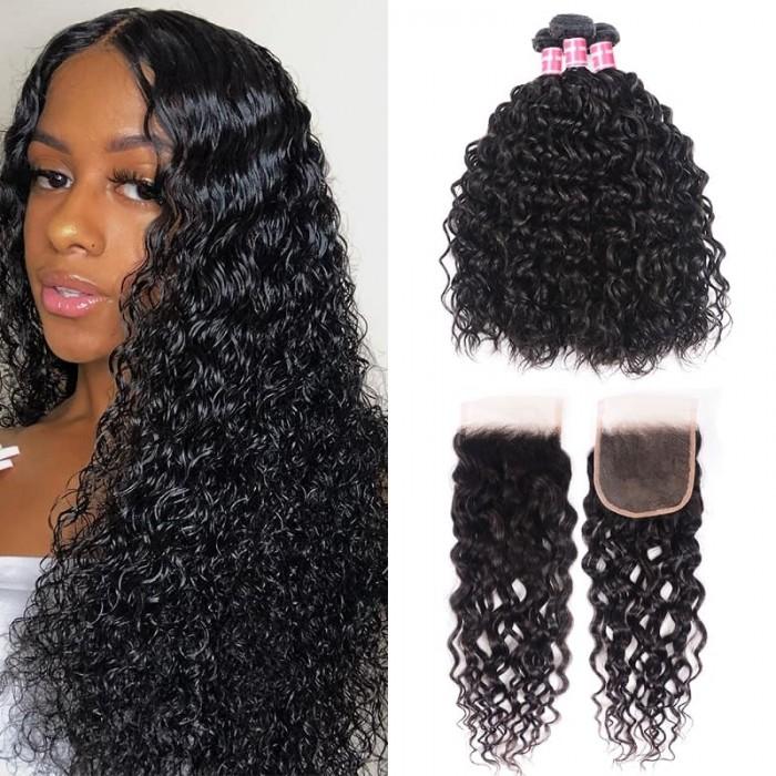 Incolorwig Brazilian Water Wave Virgin Hair Weave 3 Bundles With Lace Closure 100% Virgin Human Hair