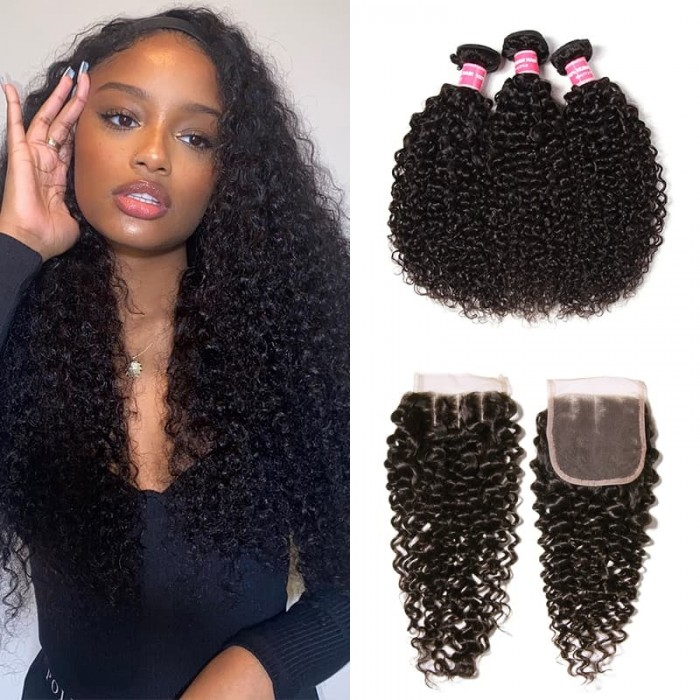 Incolorwig Jerry Curly Virgin Hair 3 Bundles With Pre-plucked 4*4 Lace Closure Human Hair