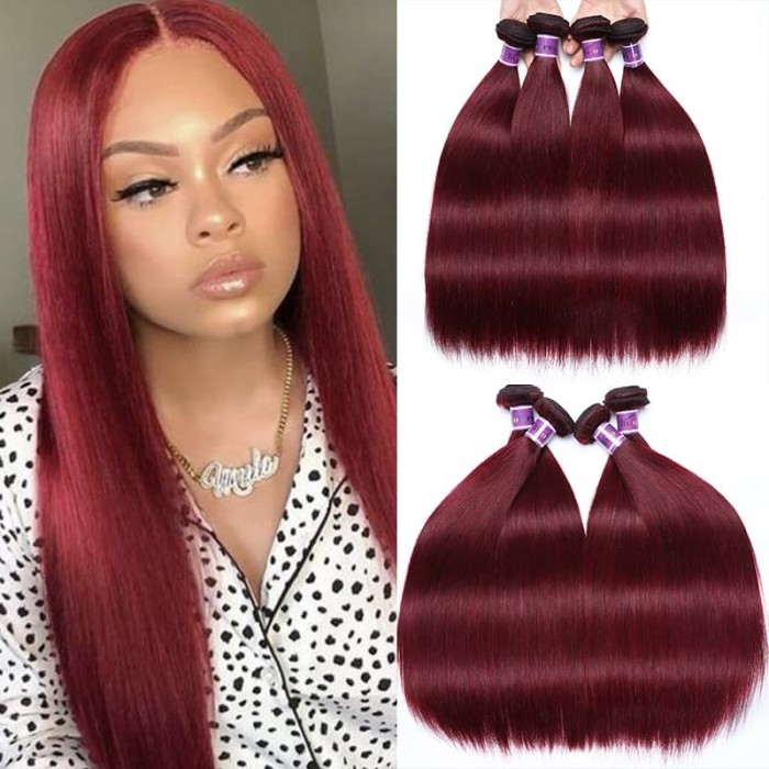 Incolorwig Peruvian 99J Human Hair 4 Bundles Straight Human Hair Weave