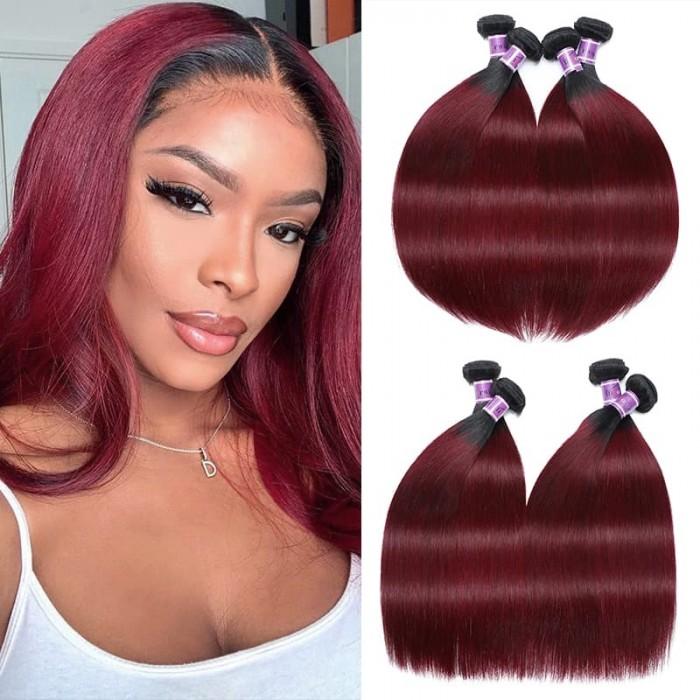 Incolorwig Peruvian Human Hair Weave Novel Hair Color TB99J Straight Human Hair Weave 4 Bundles Deals
