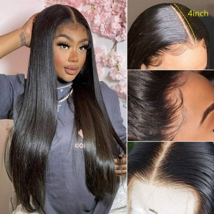 Incolorwig 150% Density Lace Parting Wig Middle Part Human Hair Wig Straight Hair Wig Natural Black Wig