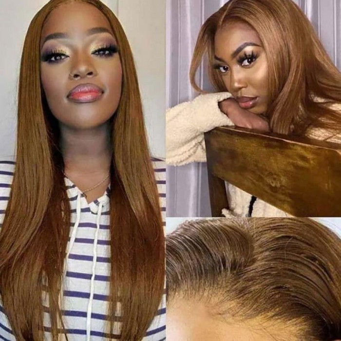 Incolorwig #8 Straight Hair Middle Part Lace Wigs Human Hair 150% Density Lace Part Wig