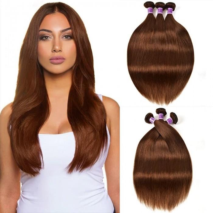 Incolorwig #4 Medium Brown Straight Virgin Peruvian Human Hair Weave 3 Bundles