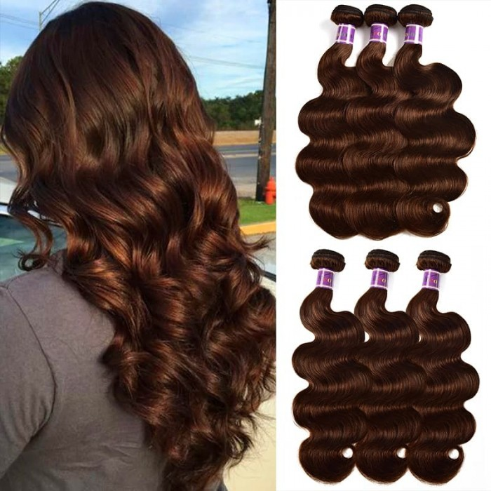 Incolorwig 3 Bundles Brazilian Human Hair Weave 100% Human hair  #4 Medium Brown Body Wave Hair