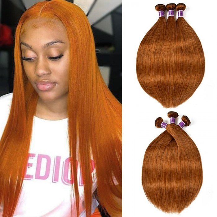 Incolorwig Pre-colored New Style #30 Pure Color Brazlian Straight Human Hair Weave 3 Bundles