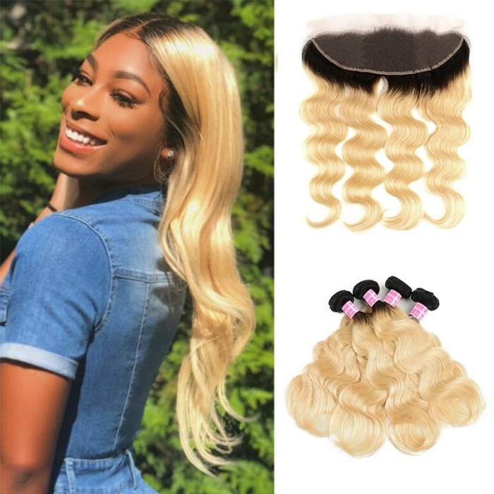 Incolorwig Malaysian Human Hair 4 Bundles With 13*4 Free Part Lace Frontal  #T1B613 Ombre Color Body Wave Hair Combinaiton
