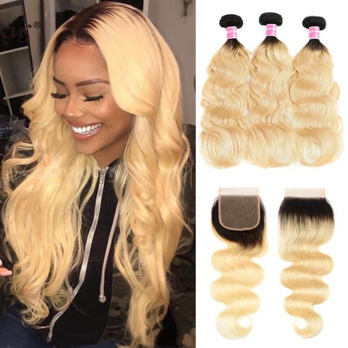 Incolorwig Peruvian #T1B613 Ombre Blonde Body Wave 3 Bundles With 4*4 Free Part Lace Closure