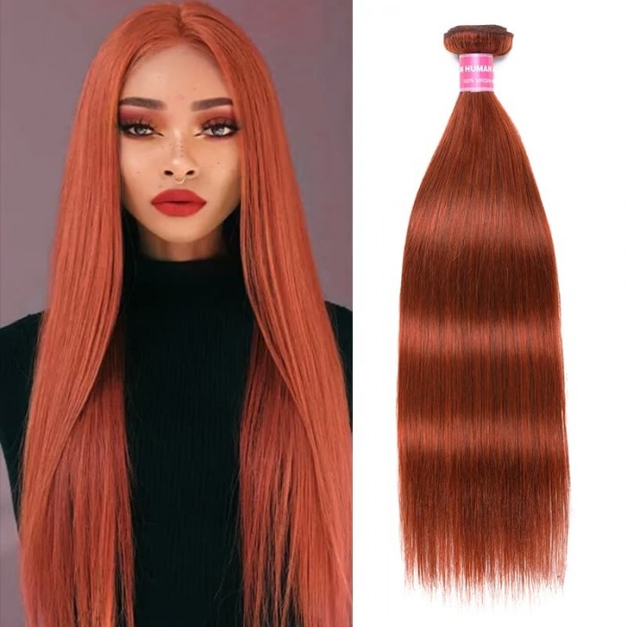 Incolorwig Sell-well Human Hair Weave #350 Ginger Straight Hair Bundles 1 Bundle Deals
