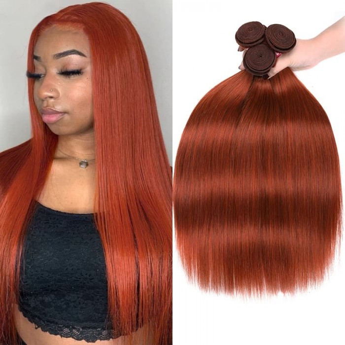 Incolorwig High Quality Ginger Color Peruvian Hair 3 Bundles #350 Ginger Straight Human Hair Weave
