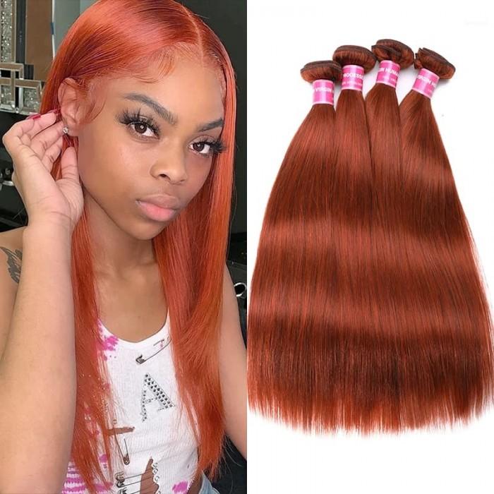 Incolorwig Peruvian 4 Bundles Human Hair Weave #350 Ginger Hair Weave Straight Hair