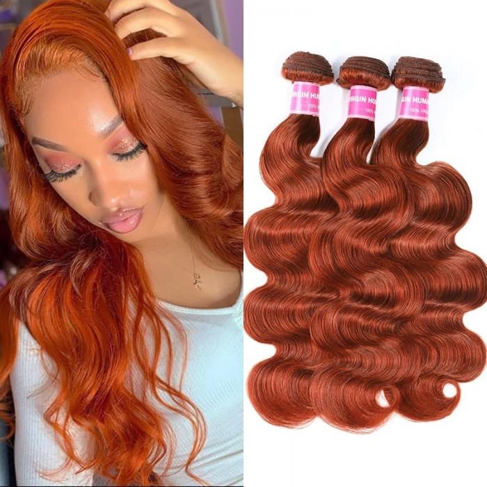 Incolorwig #350 Ginger Weave Body Wave Peruvian Human Hair Weave 3 Bundles Deals
