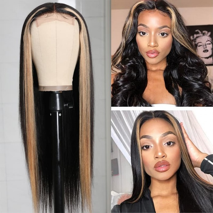 Incolorwig 150% Density Straight Human Hair Wig TL27 Pre Plucked 13*4 Three Part Wig
