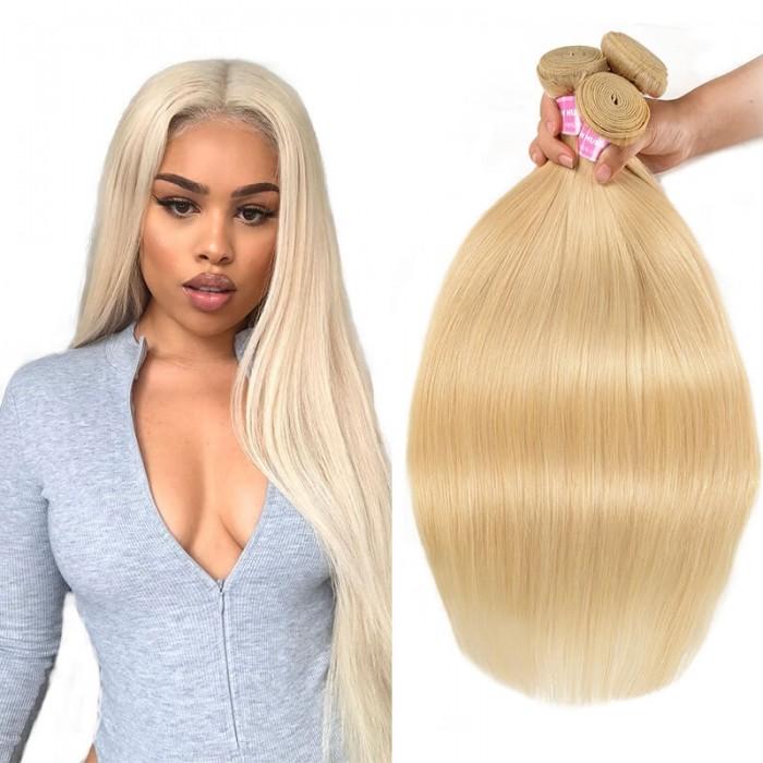 Incolorwig 100% Brazilian Human Hair # 613 Blonde Straigh Hair Weaves 3 Bundles