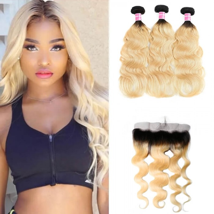 Incolorwig malaysian Human Virgin Hair 3 Bundles With 13*4 Free Part Lace Frontal #T1B613 Body Wave Hair Combination