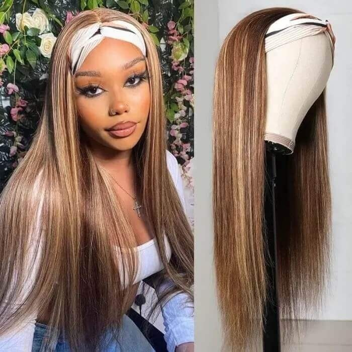 Incolorwig Popular Highlight Headband Wigs Straight Hair 100% Virgin Human Hair Wigs TL412 Straight Hair Wigs