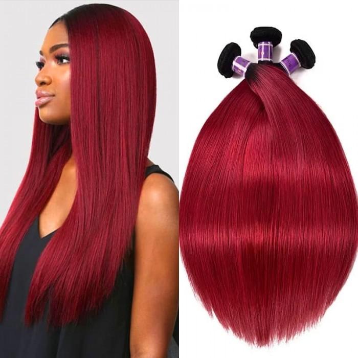 Incolorwig Soft Peruvian #TB Burgundy Straight Human Hair Weave 100% Human Peruvian Human Hair 3 Bundles