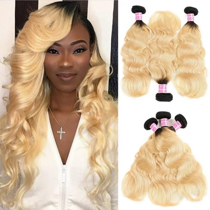 Incolorwig Peruvian Virgin Body Wave Hair Weave 3 Bundles #T1B613 Ombre Blonde Human Hair Weave
