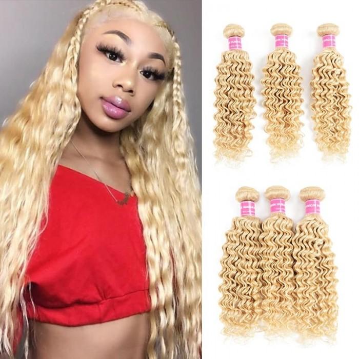 Incolorwig Hand-picked Brazilian Virgin Human Hair  3 Bundles # 613 Blonde Deep Wave Hair Weaves