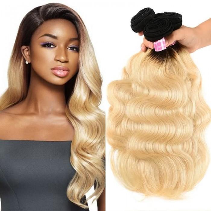 Incolorwig Brazilian Virgin Body Wave Hair Weave 3 Bundles #T1B613 Ombre Blonde Human Hair Weave