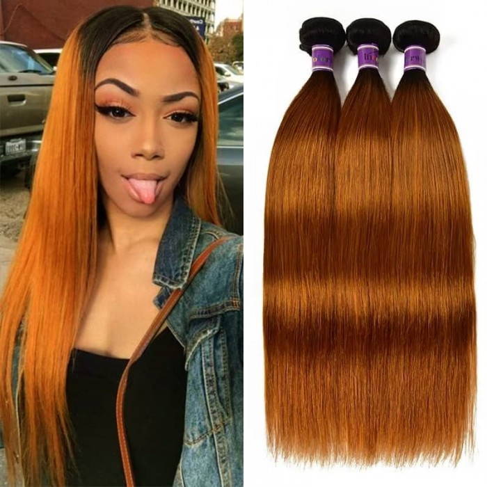 Incolorwig #TB30 Straight Human Hair New Pre Colored Remy Human Hair Weave 3 Bundles