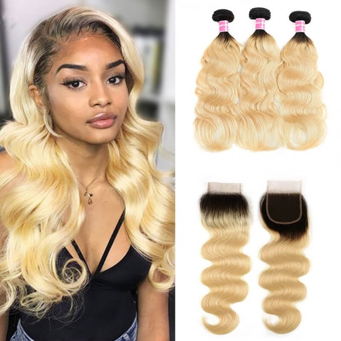 Incolorwig #T1B613 Ombre Blonde Body Wave 3 Bundles With 4*4 Free Part Lace Closure