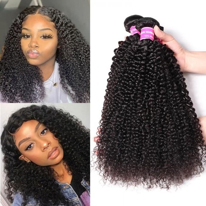 Incolorwig Kinky Curly Hair Weave 3 Bundles Brazilian Virgin Hair Natural Color