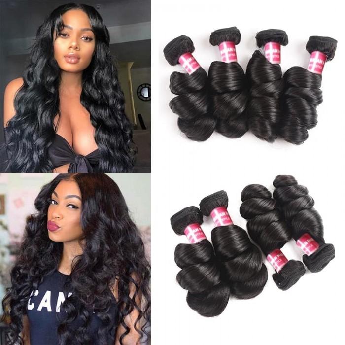 Incolorwig Best Virgin Human Hair Remy Brazilian Virgin Hair Loose Wave 4 Bundle Deals