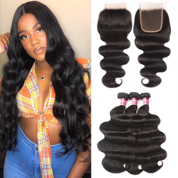 Incolorwig Body Wave Virgin Hair Weave 3 Bundles With Lace Closure 100% Virgin Human Hair