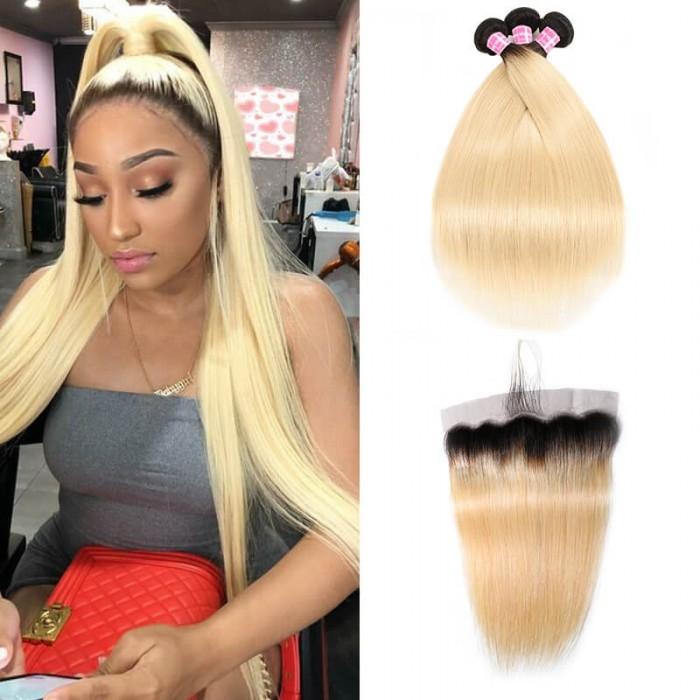 Incolorwig New #T1B613 Ombre Blonde Straight Peruvian 3 Bundles Hair With 13*4 Free Part Lace Frontal