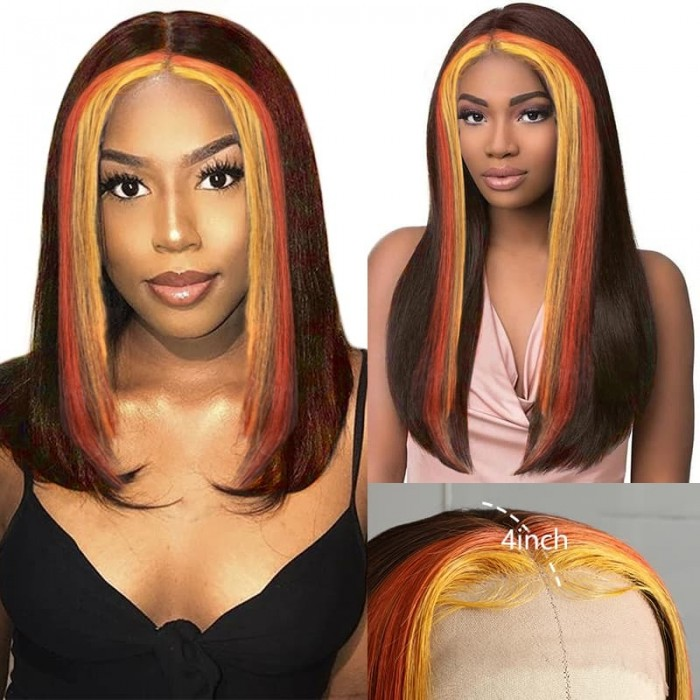 Incolorwig 150% Density Human Hair 13x4 Lace Front Highlight Wig #4 Mixed Orange And Yellow Colored Wig