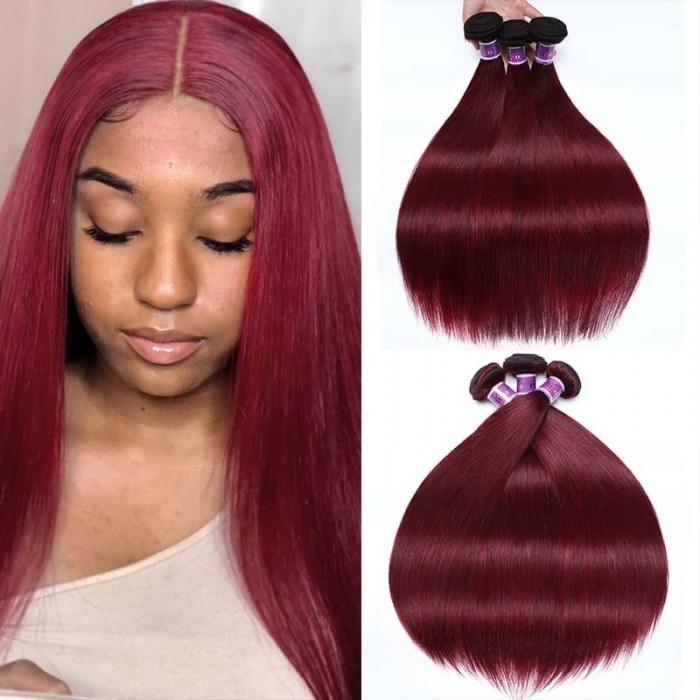 Incolorwig Peruvian 100% Human Hair 3 Bundles #99J Straight Human Hair Weave